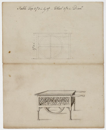 Design for a table with wheel and handles