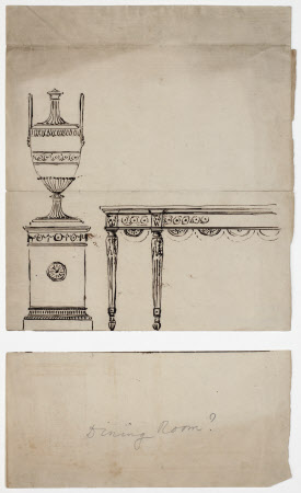 Sketch of an urn with part of side table