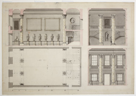 Sections and plan of a hall