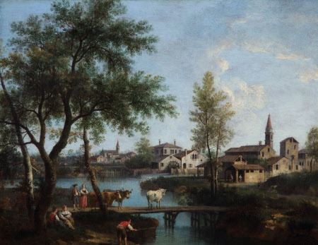 Landscape with Cows crossing a Bridge near a Town