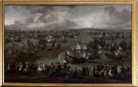 King Louis XIV, King of France (1638–1715) reviewing his Fleet at Dunkirk, met by Representatives ...
