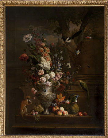 A Vase of Flowers with Fruit, a Monkey and Birds on a Terrace
