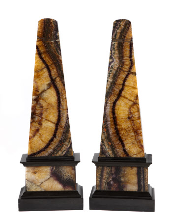 A pair of Blue John obelisks