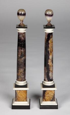 A pair of Blue John columns