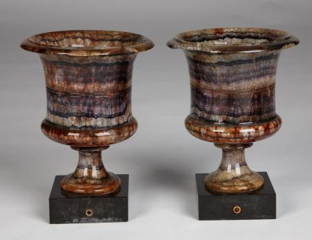 A pair of Blue John campana urns