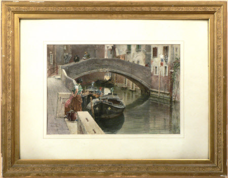 Venetian Scene (Canal with Bridge)