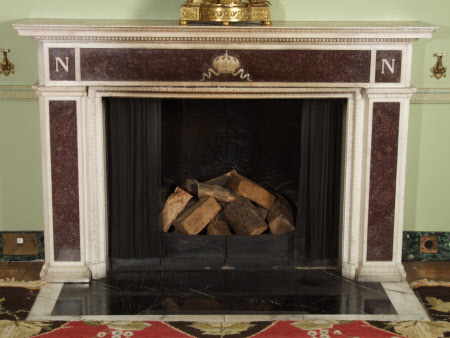 Chimneypiece, Louis XVI period, mounted with an Imperial crown and two 'N's, Library, Hinton ...