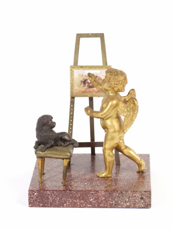 A Winged Cherub painting a Copy of 'The Gleaners' by Jean Francois Millet accompanied by a Poodle ...