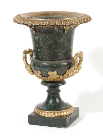 Louis XVI style green marble urns with ormolu enrichments of acanthus leaves and bunches of grapes. ...