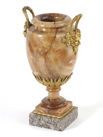 Louis XVI vase with ormolu handles and mounts.