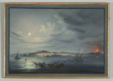 Moonlight View of the Bay of Naples with Vesuvius