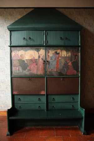 The settle-cum-dresser, designed by Philip Webb