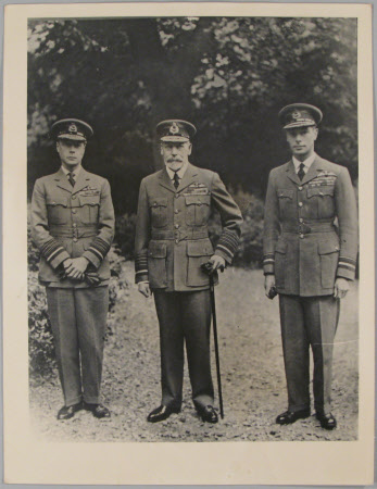 King George V (1865–1936), with his two eldest sons, on left - Prince of Wales, later King Edward ...