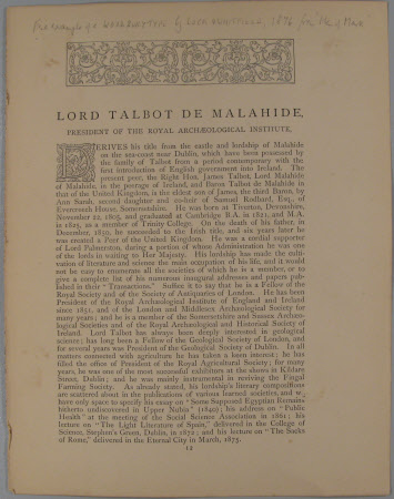 Lord Talbot De Malahide