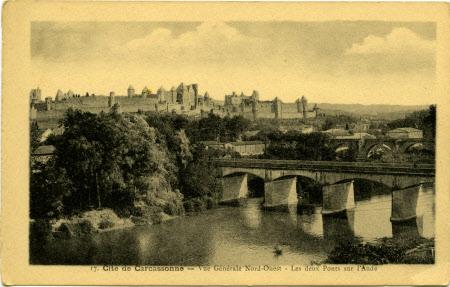 Cite de Carcassonne - Vue Generale Nord-Ouest - Les Deux Ponts Sur l'Aude