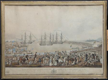 King George IV (1762-1830): Embarkation at Kingstown, 3rd September 1821 (after Joseph Patrick ...