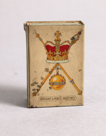 Cardboard and metal matchbook commemorating the coronation of King George VI (1895-1952) and Queen ...