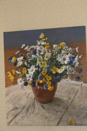 A Vase of Flowers with Daisies, Yellow Poppies and Cornflowers