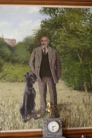 Bob Parsons (1920 - 2000) in the Grounds of Newark Park with Trudy, a Great Dane Dog