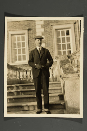 The Hon. Francis Gerald Agar-Robartes, 7th Viscount Clifden (1883-1966) in front of Wimpole Hall, ...