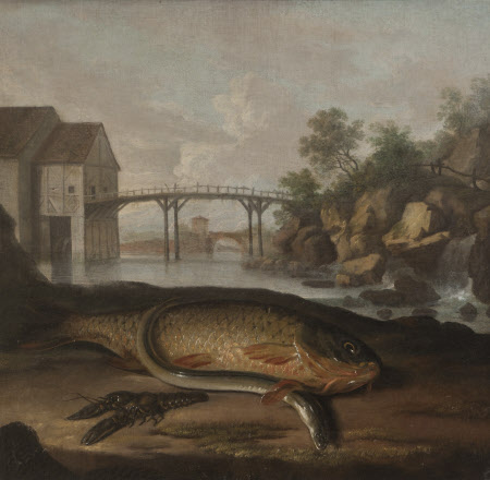 Common Carp, Freshwater Crayfish and Eel, in an Imaginary French Setting