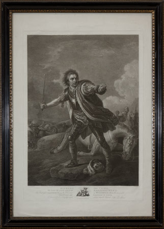 David Garrick (1717-1779) in the role of King Richard III (1452–1485) at the Battle of Bosworth ...