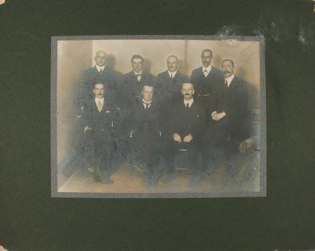 Group of men with Captain, The Hon.Thomas Charles Reginald Agar-Robartes, MP (1880-1915) front row ...