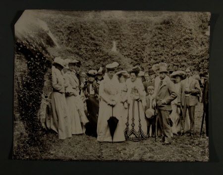 Group within the circular keep of Restormel Castle. Left to right 3rd Thomas Charles Reginald Agar ...
