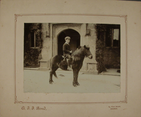 The Hon. Alexander George Agar-Robartes (1895-1930) on a pony outside Lanhydrock