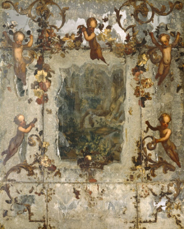 Mirror decorated with Putti, Flowers and Acanthus Scrolls