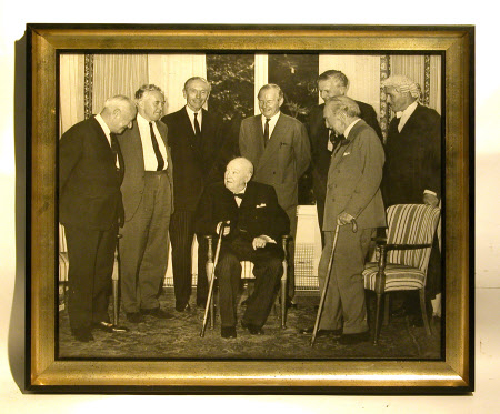 Sir Winston Churchill (1864-1975) with a group including Harold Wilson (1916-1995) and Alexander ...