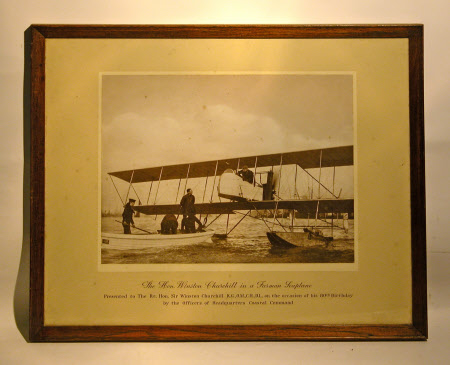 Sir Winston Churchill (1864-1975) in a Farman Seaplane