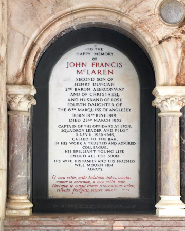 Memorial to Squadron-Leader John Francis McLaren (1919-1953)