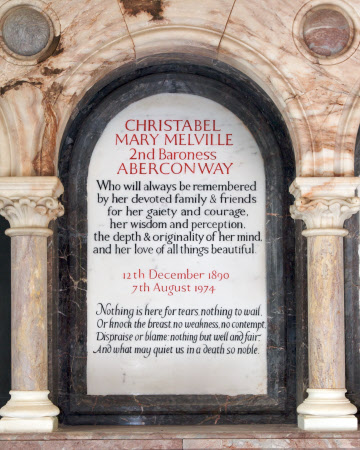 Memorial to Christabel Mary Melville MacNaghten, Baroness Aberconway (1890-1974)