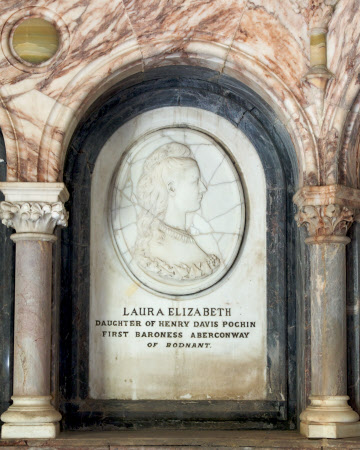 Memorial with carved relief portrait, to Laura Elizaberth Pochin, Baroness Aberconway, CBE (d.1933)