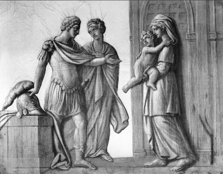 Meeting between Hector and Andromache with their Son Astyanax carried by a Nurse
