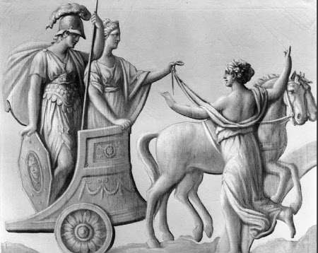 Athene, driven by Hera, preparing to assist the Grecians and forbidden by Iris, sent from Zeus