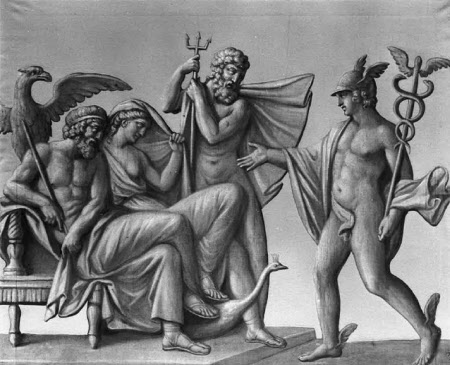 Hermes delivering a Message to Zeus in the Presence of Hera and Poseidon