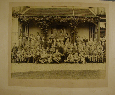 Mortimer Vicarage, Reading. Standing in the back row, fourth from the right, is the Hon. Thomas ...