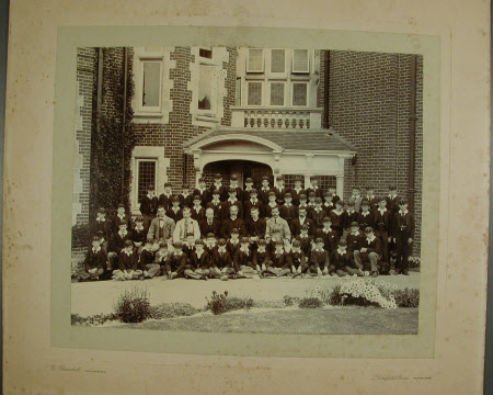 Pupils of St. Christopher's School, Eastbourne. Standing third from right, third row back, is the ...