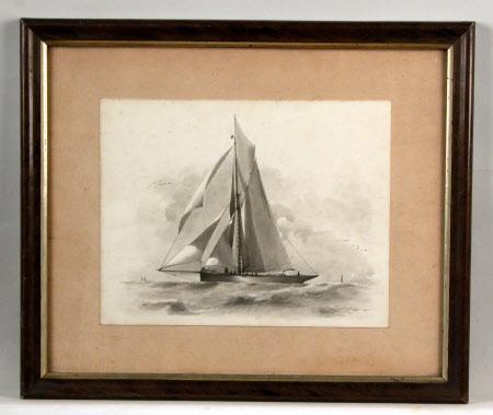 A schooner at sea with full sails