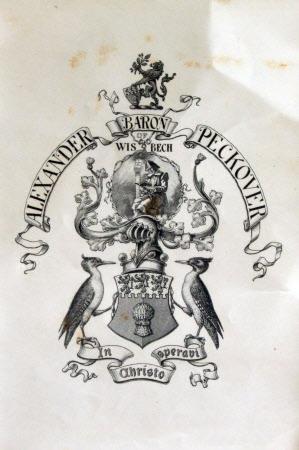 Bookplate of Alexander Peckover, 1st Baron Peckover of Wisbech, LLD, FLS, FRGS (1830-1919)