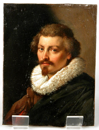 A Man in a Ruff and Brown and Red Slashed Doublet