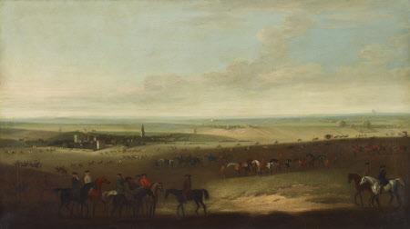 Horses exercising on Newmarket Heath