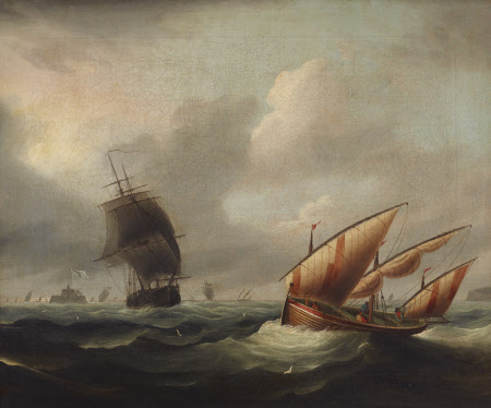 Seascape with View of Fort Stuart (Julia Ann with a Frigate and Lateen Boat with a Foreigner)