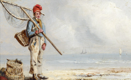 A Fisherboy with Lobster Pots by the Sea