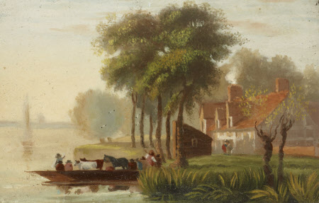A Ferry Boat with Cattle