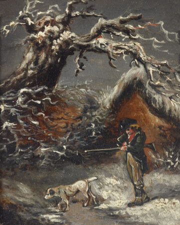 A Winter Scene with a Sportsman and a Dog