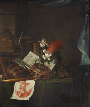 Still Life with a Print of King Charles I and an Upturned Crown