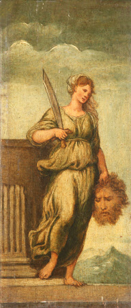 Triptych: Judith standing by a Plinth with the Head of Holofernes; Abraham restrained from ...